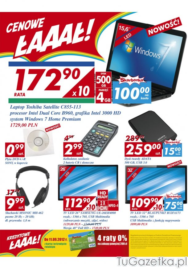 laptop toshiba satellite z auchan auchan komputery laptopy smartfony tablety. Black Bedroom Furniture Sets. Home Design Ideas