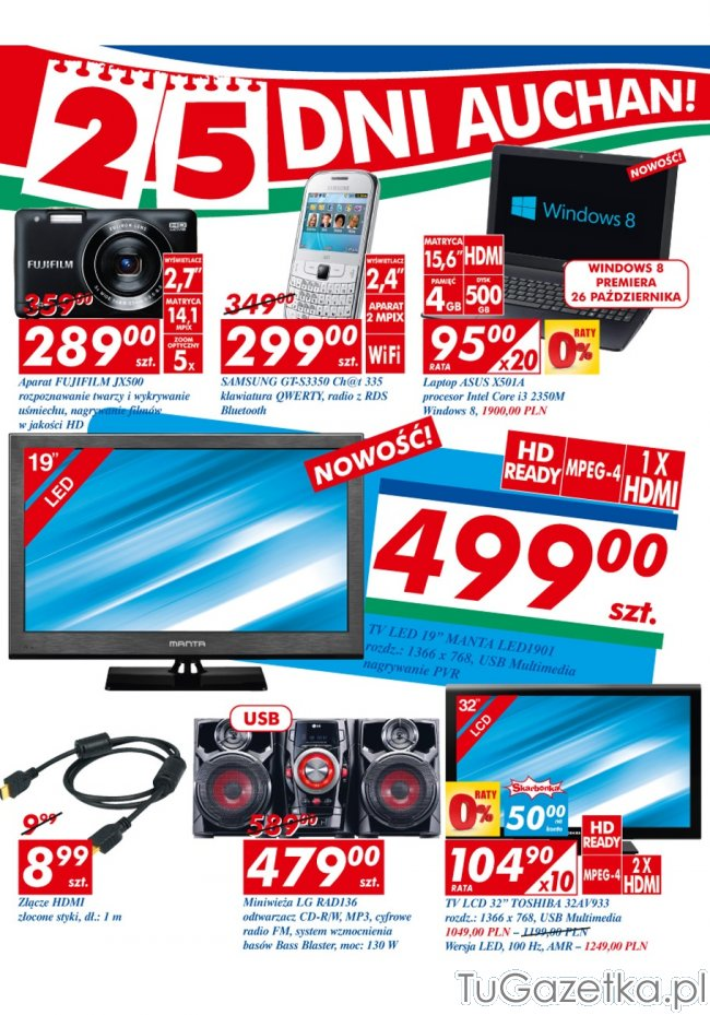 tv led za 499 auchan komputery laptopy smartfony tablety. Black Bedroom Furniture Sets. Home Design Ideas