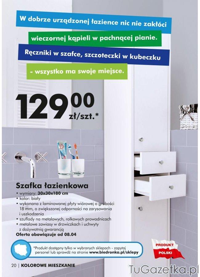 Szafka Biała Do łazienki Słupek Biedronka łazienka
